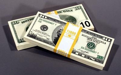 $10 bill style filler money bundle