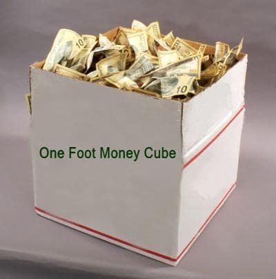 one foot cube crumpled prop money bills
